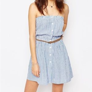 ASOS strapless seersucker dress